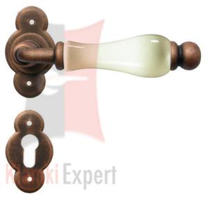 Klamka VIENNA 1-20 z dolną rozetą na wkładkę patentową, porcelana kremowa - 2834083881
