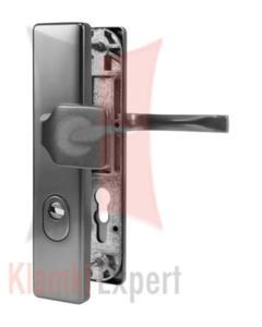 Klamko-gałka zewnętrzna JUNO z zabezpieczeniem, kolor F1 srebrny, rozstaw 92 mm - 2873914110