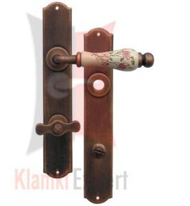 Klamka PRAGA 2-10 z blokadą wc, porcelana kremowa kwiat brzoskwini - 2825518794