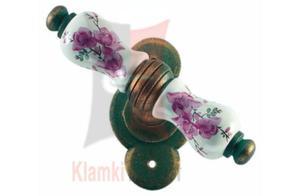 Klamka okienna VIENNA 1-30, porcelana kremowa kwiat brzoskwini - 2825518858