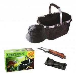 Zestaw grzybiarza niezbędnik nóż koszyk czapka opaska na komary akcesoria do zbierania grzybów - 2853238647