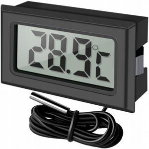 Termometr elektroniczny LCD do lodówki z sondą na kablu -50C +70C do zabudowy - 2857900441