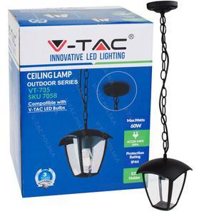 Wisząca lampa ogrodowa pojedyncza VT-735 czarna - 2854946316