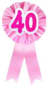 """Kotylion na 40 urodziny """"40"""" różowy - 2890521894"""