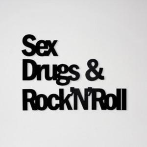 Napis na ścianę SEX DRUGS & ROCK'N'ROLL czarny - 2822983946