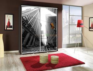 Szafa Penelopa 155 z drzwiami przesuwnymi i grafiką - 2823047443