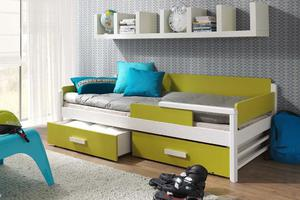 Łóżko parterowe TERREO z barierką - sosna lakier - 2823047547