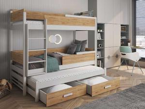 Łóżko piętrowe QUATRO 3 osobowe - sosna lakier - 2823047550