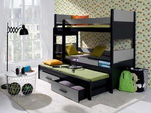 Łóżko piętrowe AUGUSTO 3 osobowe z barierką - akryl kolor - 2855883863