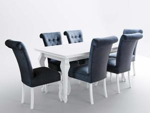 Stoł biały połysk z 6 krzesłami - 2857441364