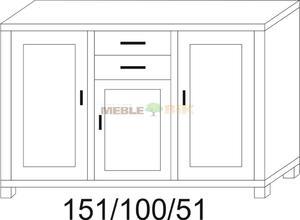 Komoda dębowa Jawor 151 1S+2S1D+1D - 2823046393