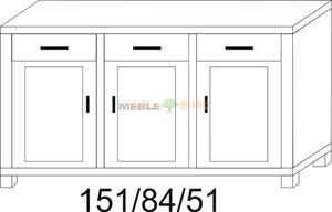 Komoda dębowa JAWOR 151 1S1D+1S1D+1S1D - 2823046395
