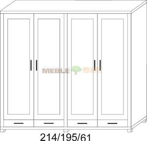 Szafa JAWOR 214/195 gł61cm z wieńcem 2d/1s+2d/1s