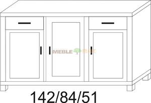 Komoda dębowa JAWOR 1S1D+1D+1S1D - 2823046435