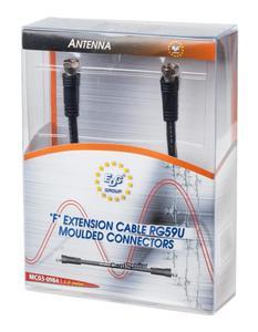 Kabel antenowy 5m Czarny F-F blister