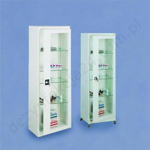 Przeszklona szafa medyczna jednodrzwiowa z kółkami - SML111 - SML111 z k. - 2858137251