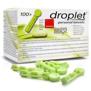 Lancety Droplet Comfort MAX 33G - 100 sztuk do nakłuwaczy, testy z krwi kapilarnej. - 2881740737
