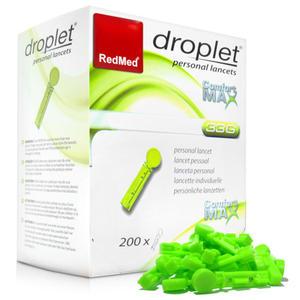 Lancety Droplet Comfort MAX 33G - 200 sztuk do nakłuwaczy, krew kapilarna - 2881740787
