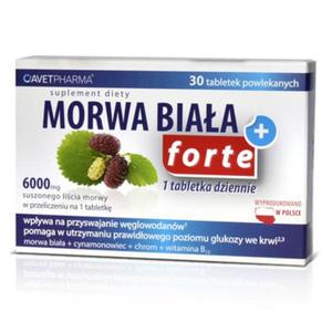 Morwa Biała Plus Forte - 30 tabletek - ekstrakt z morwy białej, cynamonowca, chrom, witamina B12 - 2881740859