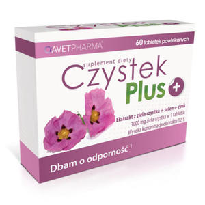 Czystek Plus - 60 tabletek - ekstrakt z czystka standaryzowany, cynk, selen - 2881740866