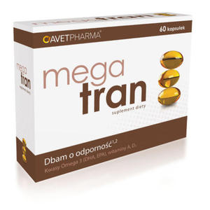 Mega Tran - 60 kapsułek - kwasy DHA i EPA, witaminy A, D3 - 2881740880
