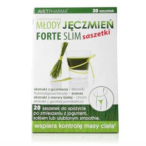 Młody Jęczmień Forte Slim - 20 saszetek - młody jęczmień, morwa biała, owoc gorzkiej pomarańczy - 2881740896