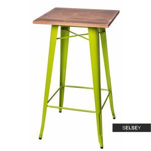 Stół barowy Paris Wood 60x60 cm zielony jasny sosna - 2887418018