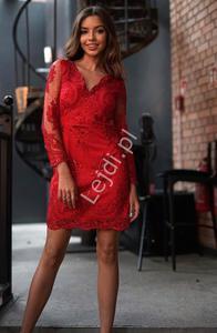 Czerwona sukienka, obcisła koronkowa sukienka wieczorowa Diana - 2868402791