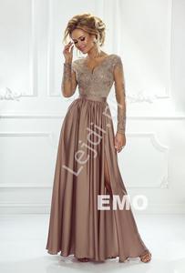Sukienka na wesele z długim tiulowym rękawem obszytym gipiurową koronką | Karmelowa suknia wieczorowa Luna - 2877901567