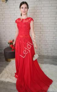 Luksusowa czerwona suknia z perełkami i koralikami - 2879342448