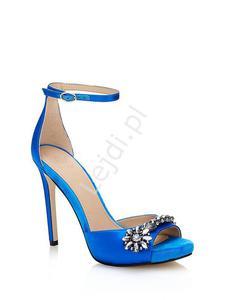 Sandały GUESS Alair niebieskie zdobione kryształkami - 2883655983