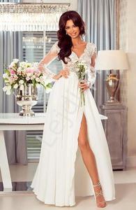 a88c9ad1de Długa suknia EMO Luna biała z beżową podszewką - 2883873098