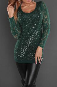 Butelkowo zielona tunika z koronkowymi rękawami | tuniki damskie - 2838743622