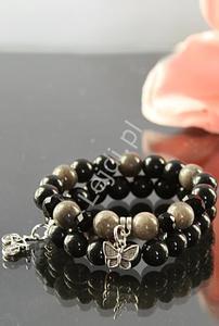Czarno szara bransoletka z kamieni naturalnych 10mm | kamienie naturalne, hand made