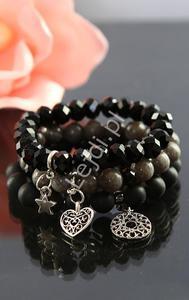 Czarna bransoletka z kamienia black stone 10mm   kamienie naturalne, hand made - 2852697455