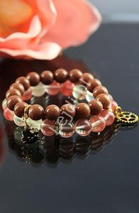 Bransoletka z kamieni naturalnych - kwarc arbuzowy 10mm   kamienie naturalne, hand made - 2852697458
