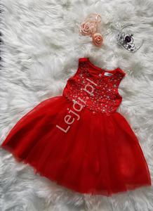 Czerwona sukienka z obfitą tiulową spódnicą | sukienki dla dziewczynek - 2854890781
