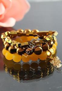 Bransoletka z hematytu złotego- drobna kostka | bransoletki z kamieni naturalnych, hand made - 2856556384