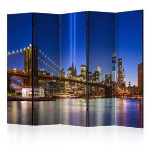Parawan 5-częściowy - Niebieski Nowy Jork II [Room Dividers] - 2856741394