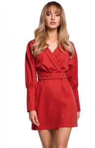 Stylowa sukienka z paskiem czerwona M501 - 2860603207
