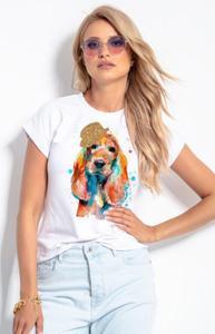 T-shirt damski z brokatowym pieskiem K657 - 2862739732