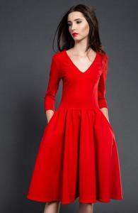 Kasia Miciak rozkloszowana midi sukienka czerwona - 2832262501