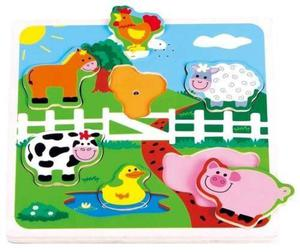 Drewniane puzzle muzyczne dżwiękowe Farma - 2845264934