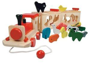 Duży drewniany sorter ze zwierzętami POCIĄG + 11 zwierząt - 2883021552