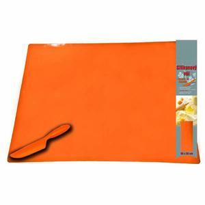 Mata silikonowy, 60 x 50cm, pomarańczowa, z silikonowym nożem - 2834726882