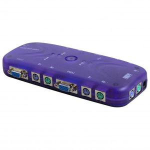 KVM przełącznik, 4:1, 5x VGA/5x klawiatura/5x mysz, mechaniczny, z przełącznikiem - 2834727171
