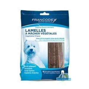 FRANCODEX Paski do gryzienia małe usuwające kamień i brzydki zapach z pyska 224 g/15 pasków - 2833046773