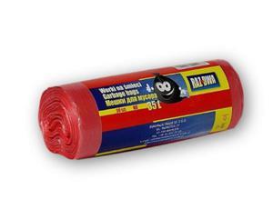 Worki na odpady czerwone HDPE 35 L-50 sztuk na rolce - 2822922511