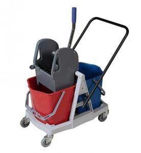 Wózek dwuwiaderkowy 2 x 17 l z wyciskarką na stelażu z plastiku ABS - 2822922576