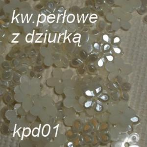 Perłowe ozdoby kwiatuszki perłowe białe z dziurką 3D 10szt. (kpd1) - 2882063414